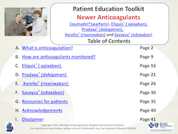 Newer Anticoagulants Patient Education Toolkit PDF